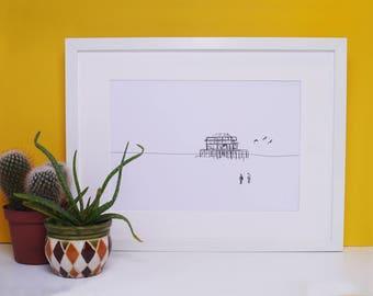 Brighton Print, West Pier Brighton, Art Print, Brighton, A4