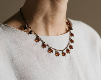 Ball shaped cherry amber necklace / Amber necklace with chain / Necklace with chain / Cherry amber necklace / Copper amber necklace