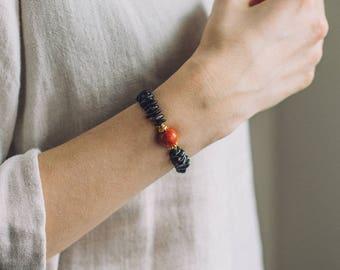 Black amber bracelet with red coral / Black Baltic amber bracelet