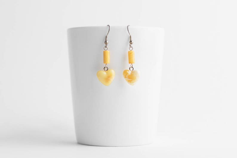 Butterscotch heart amber earrings  Yellow heart amber earrings  Yellow amber earrings  Heart earrings