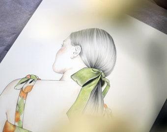 AZAHAR. Ilustración, print, dibujo, poster, lámina. Decoración. Serie limitada coleccionable. Arte. Chicas y mujeres. Nostalgía, romantico.