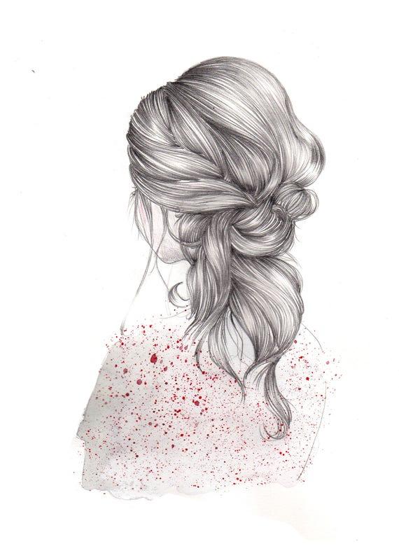 Ilustración Chica Espaldas Con Pelo Detalle Ilustración Etsy