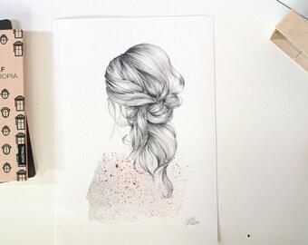 Ilustración chica  espaldas con pelo detalle. Ilustración, poster o cartel. Decora y da vida a tus paredes. Dibujo a lápiz y acuarelas.