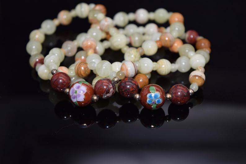Natural Stone Beaded Necklace Vintage Polished Agate /& Cloisonn\u00e9 Bead Necklace