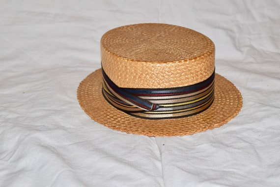 Vintage Men's Sailor Straw Imported Hat, Straw Boa