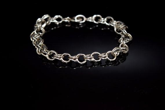 Vintage Sterling Silver Double Link Charm Bracele… - image 1
