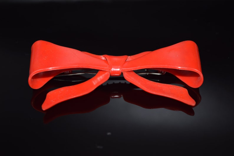 Red Plastic Ribbon Barrette Large Vintage Hair Clip Wire Clasp Red Bow Hair Clip