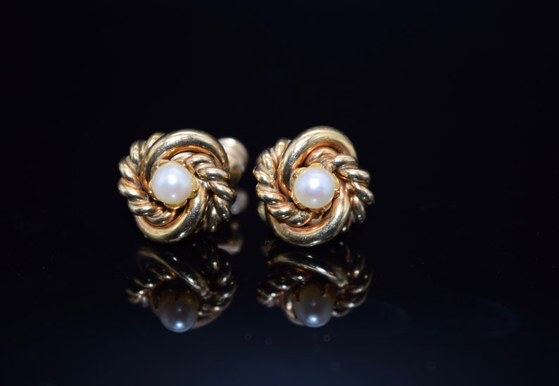 120 12KT Vintage Gold Love Knot Earrings with Genuine Cultured Pearls Signed HG Screw Back Earrings