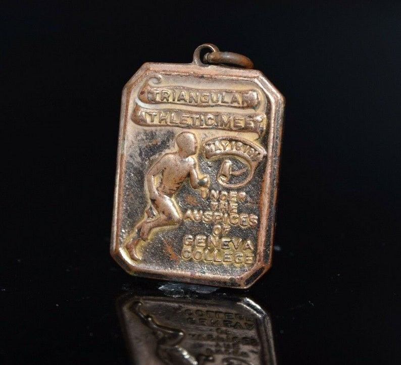 College Shops Pennsylvania Antique 1911 Geneva College Athletic Medal 20 Yard Hurdles Triangular Athletic Medal
