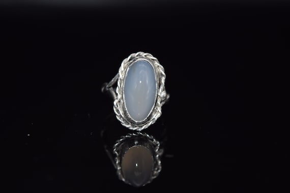 Antique Sterling Silver Moonstone Ring, Size 6 1/2