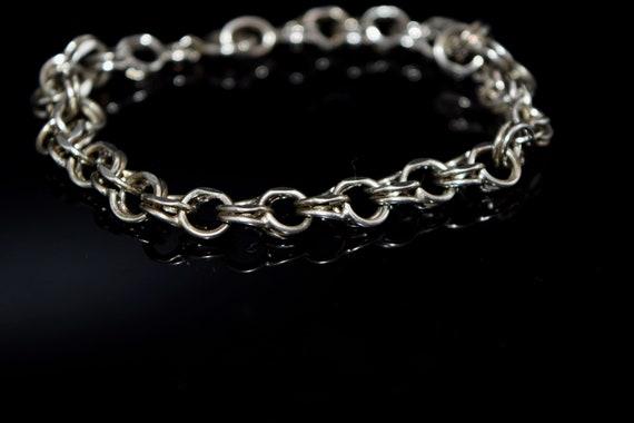 Vintage Sterling Silver Double Link Charm Bracele… - image 2