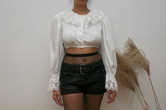 1980s Austrian dirndl white lace blouse - small /