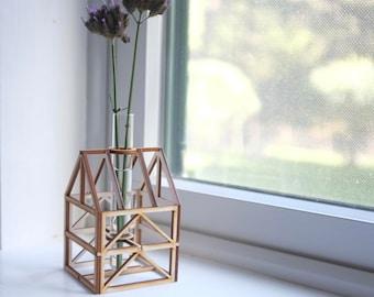 Framework Bud Vase House - architectural model - glass tube flower vase - unique geometric housewarming gift - miniature wooden