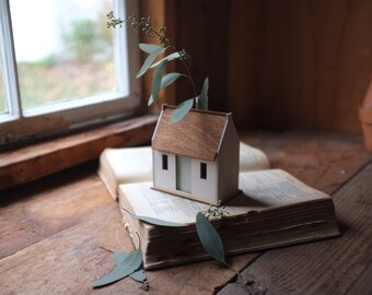 Irish cottage bud vase - miniature house structure - white washed historic building model - flower vase centerpiece - stay home stay safe