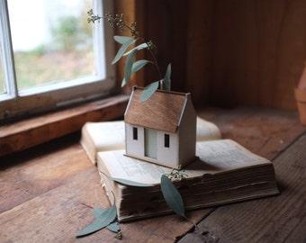 Irish cottage bud vase - miniature house structure - white washed historic building model - flower vase centerpiece - mint green door
