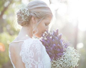 "Long Sleeve Wedding Dress, A-line Lace Wedding Dress with Open Back - ""Natalia"", Simple Wedding Dress, Custom dress, Rustic bridal gown"
