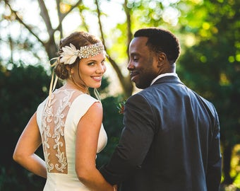 Bohemian Wedding Dress, Ivory Open Back Wedding Dress with Lace on the Back and with Train L12, Simple Wedding Dress, Unique Wedding Dress