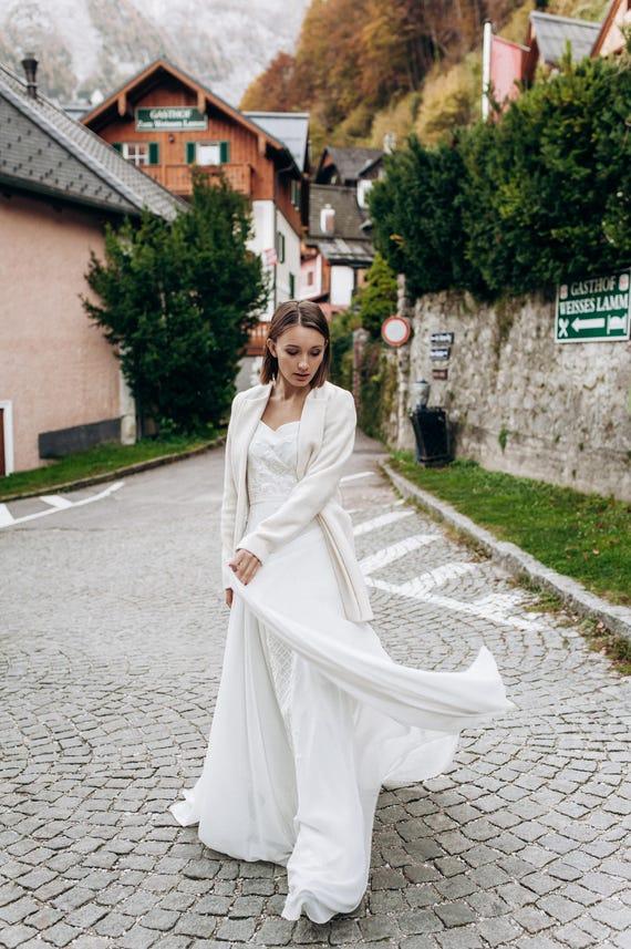 Long Chiffon Wedding Dress L20 Lace Wedding Dress Unique Etsy