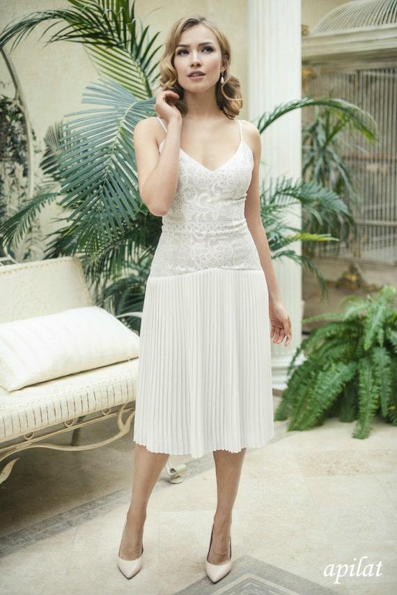 Short Lace Wedding Dress L25 with Accordion Pleated Chiffon   Etsy