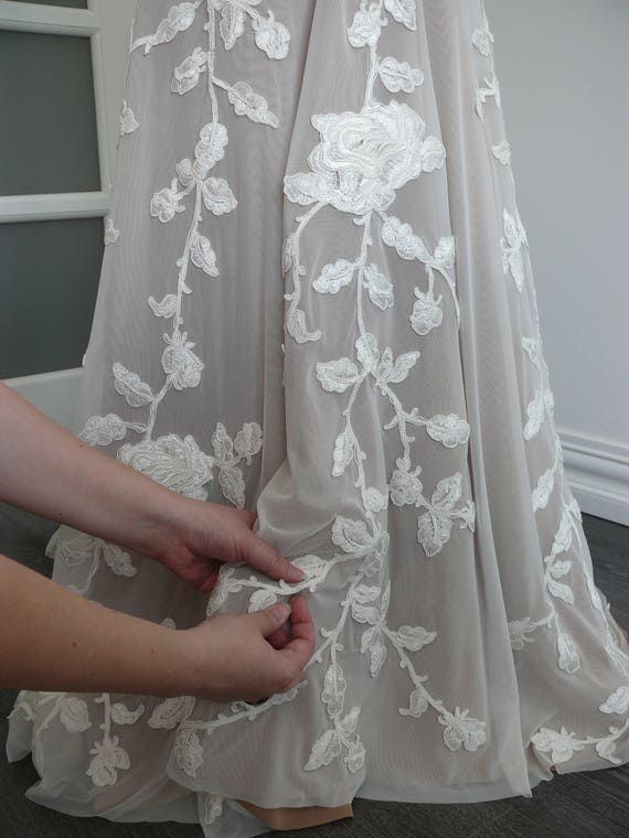 Lace Wedding Dress with Puddle Train and Handmade   Etsy