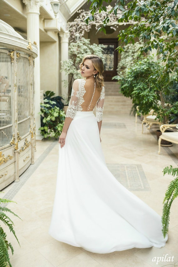 Ivory Chiffon Wedding Dress L19 with Lace Lace A-line Wedding   Etsy