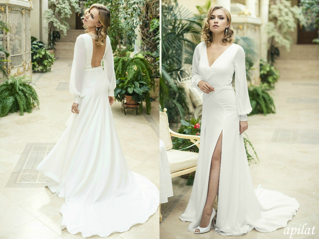 Ivory Crepe Open Back Wedding Dress And Handmade