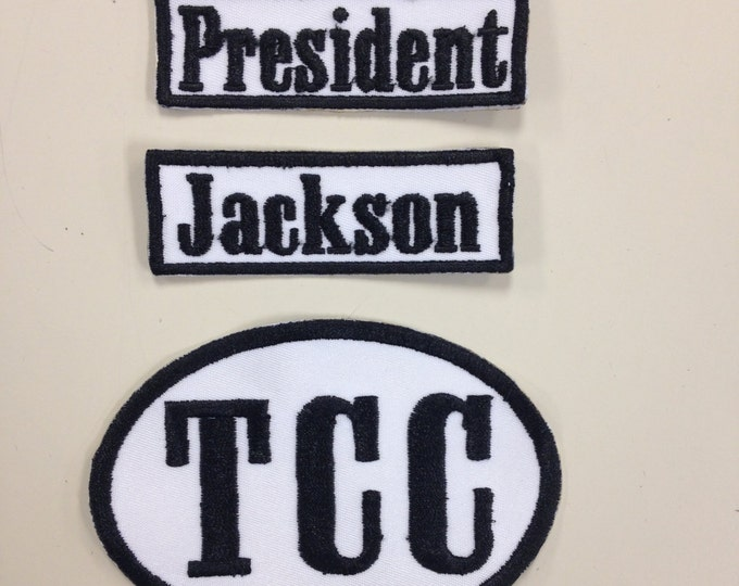Embroidered Name Patch, Embroidered Name Tag Patch, Iron On or Sew On Embroidered Custom Rectangle or Oval Patch