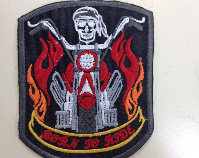 Motorcycle Iron On Embroidered Patch, Born to Ride Patch, Skeleton Motorcycle Flames Patch