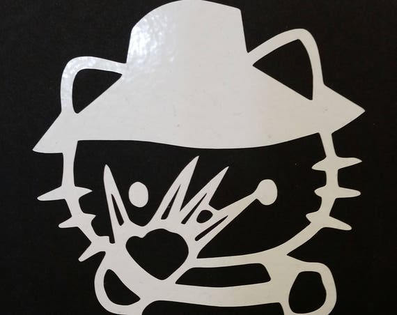 Scary Kitty Decal, Knife Wielding Kitty, Knife Finger Kitty