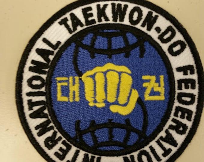 International TaekWon-Do Patch, Embroidered Tae Kwon Do patch, Iron On Tae Kwon Do Patch