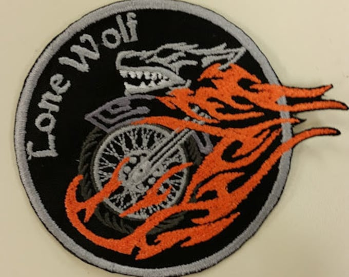 Lone Wolf Motorcycle Embroidered Patch with Iron On Backing, Biker Embroidered Patch, Wolf Patch