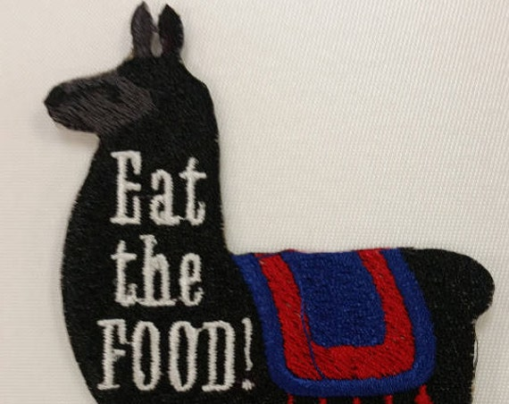 Llama Eat the Food Embroidered Patch,  Tina the Llama inspired Iron On patch, Comedy film inspired patch