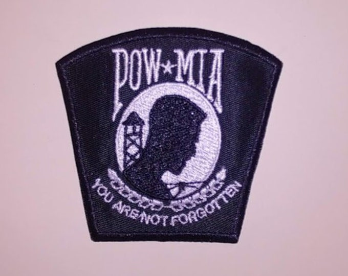 POW Embroidered Patch, Iron On Remembrance Vet Patch