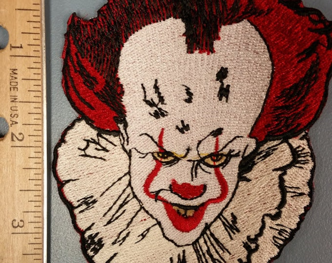 Scary Clown Embroidered Patch, Horror Clown Patch, Clown Iron On Patch