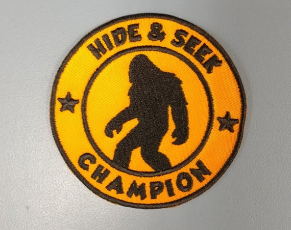 Sasquatch Hide & Seek Champion Applique Patch, Embroidered Bigfoot patch, Urban legend patch