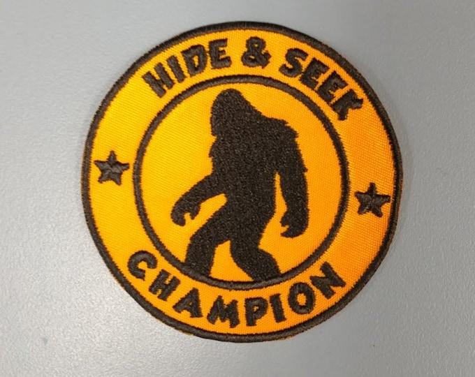 Sasquatch Hide & Seek Champion Applique Patch, Embroidered Bigfoot patch, Urban legend patch
