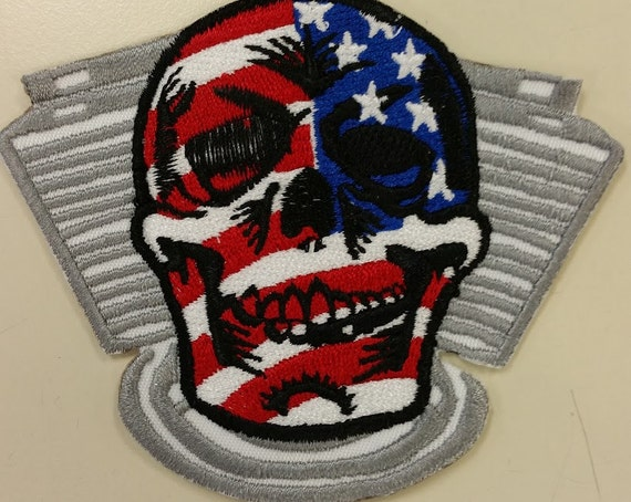 Patriotic Motorcycle Skull Embroidered Patch, Stars and Stripes Skullhead Patch, Live Free Patch, Iron On Patriotic Patch, American Skull