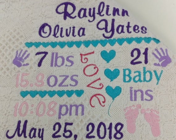Birth Announcement Embroidered Baby Afghan,  Newborn Baby Gift for Baby Arrival, Personalized Custom Baby Blanket