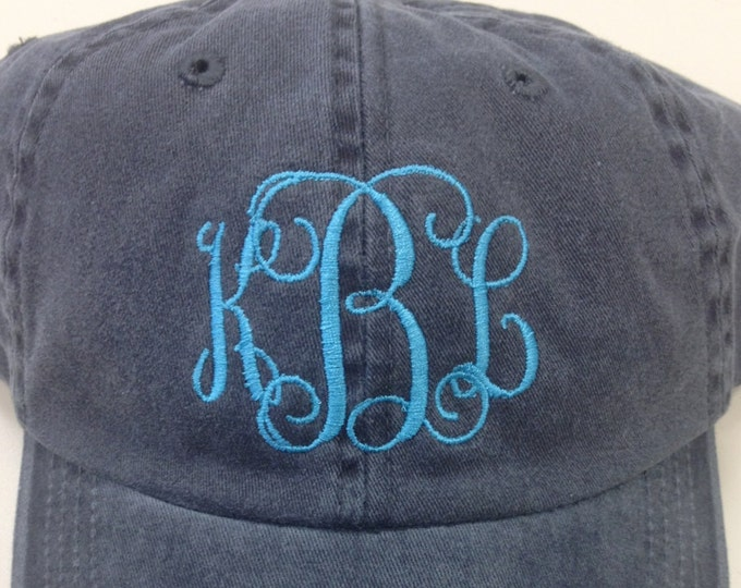 Monogrammed Hat, Personalized Cap with Interlocking Vine Initials, Interlocking Vine Initials on Stonewash Hat