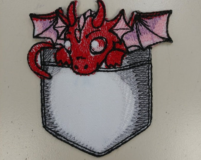 Dragon pocket embroidered applique patch
