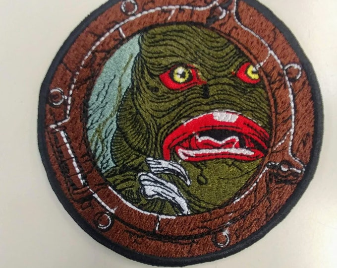 Classic Monster Embroidered Patch, Iron On Horror Water Monster