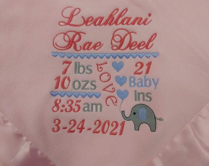 Soft Plush Newborn Baby Announcement Blanket with Elephant design