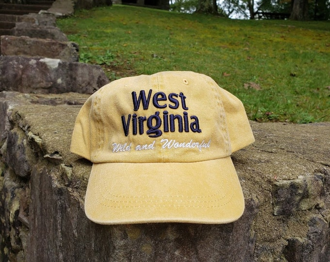 West Virginia 3D Puff Stonewashed Mustard Cap