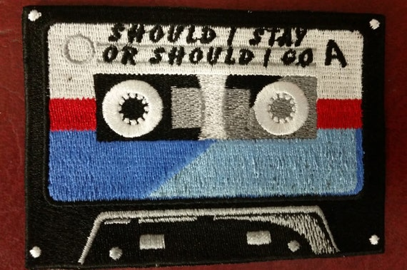 Should I Stay or Should I Go Cassette Retro Embroidered Patch, Mixtape Iron On Patch, 80's Rock Embroidered Patch
