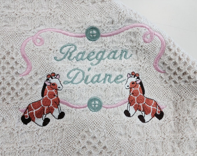 Natural Honeycomb Heart Afghan for New Arrivals, Embroidered Baby Giraffee or Bear Blanket, Nursery Throw, Personalized Baby Shower Gift