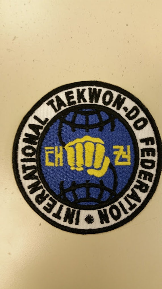 International TaekWon-Do Patch, Embroidered Tae Kwon Do patch, Iron On Tae Kwon Do Patch