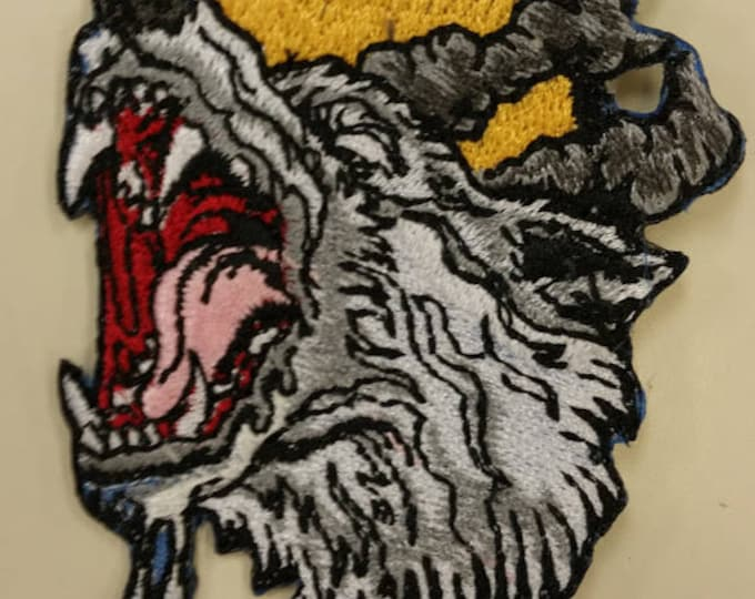 Howl at the Moon Wolf Patch,  Embroidered Wolf Patch, Moon Patch, Werewolf patch, Growling Wolf Patch