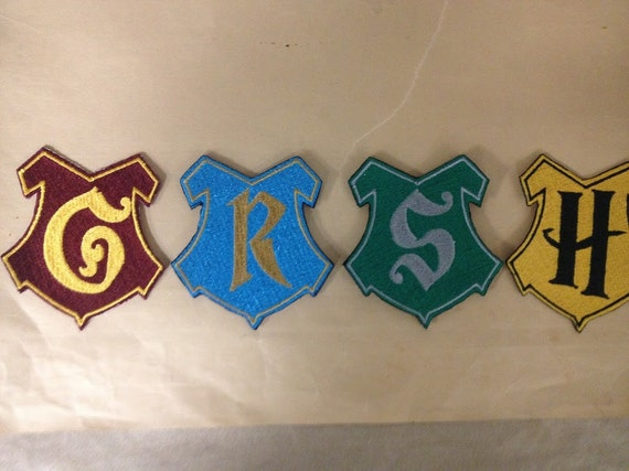 Embroidered wizard Crests or Shields, Iron On, House Iron On Patches, Fantasy Children's Book Patches
