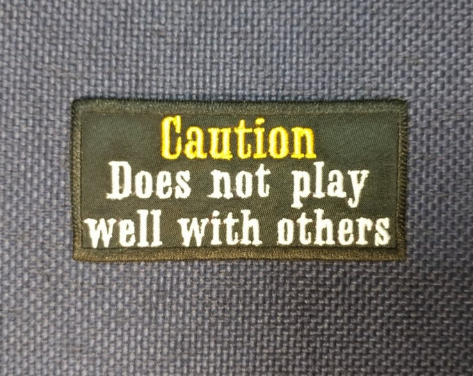 Funny Saying Embroidered Patch, Applique Text Motorcycle Patch, Caution Patch
