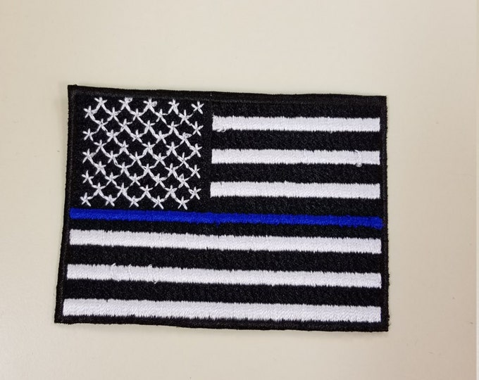 Police Thin Blue Line Flag Patch, American Flag Patch, Firefighter Support, Law Enforcement Support, Iron on or Sew on Patch